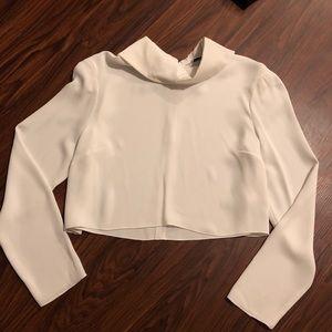 Aritzia Babaton Long Sleeve Collar Crop Top Small